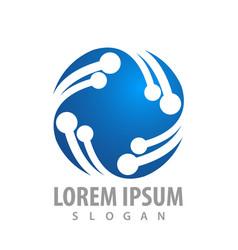 circular molecule sphere logo concept design vector image