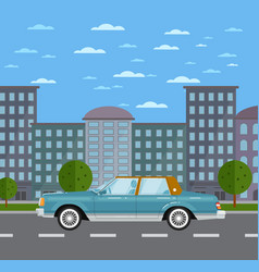 Classic retro sedan in urban landscape vector