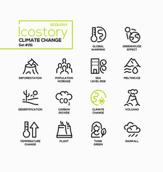 Climate change - line design style icons set vector