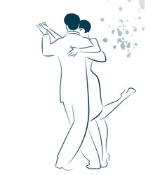 Couple dancing tango drawn sketch by line vector