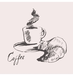 Cup of coffee croissant vintage retro hand drawn vector