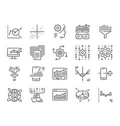 data science line icon set vector image