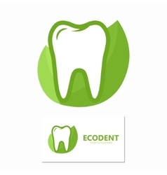 Dental logo with green leaves symbol vector