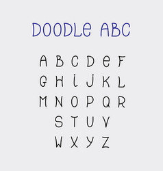 doodle abc lettering hand-drawn fonts isolated vector image