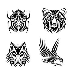 Eagle wolf bear bug tattoo design vector