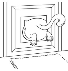 fat cat stuck coloring book vector image vector image
