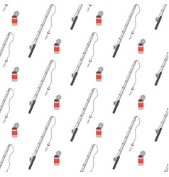 fishing rod and bank with worms seamless pattern vector image