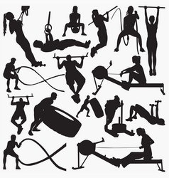 fitness gym equipment silhouettes vector image