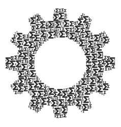 Gear wheel collage of sum icons vector