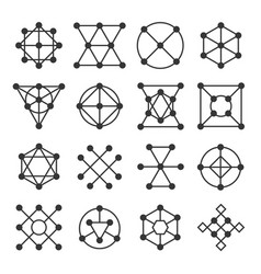 geometric shape signs set line style logos vector image