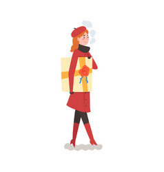 Girl in winter clothing holding gift box young vector