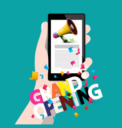 grand opening concept with phone in hand vector image