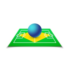 Green soccer field brazil flag vector image