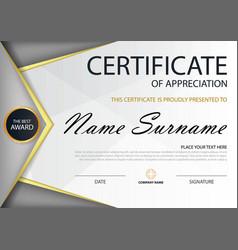 Grey elegance horizontal certificate template vector