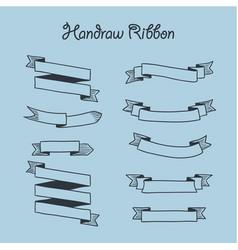 Handrawn ribbon set vector