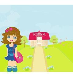 Happy little girl going to school vector