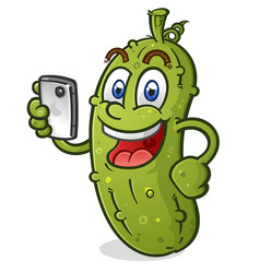 Happy pickle cartoon character with mobile phone vector