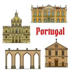 Historic buildings and sightseeings portugal vector