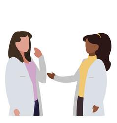 Interracial female medicine workers with uniform vector
