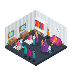 Isometric makeup room concept vector
