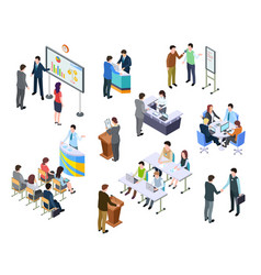 Isometric meeting business people on presentation vector