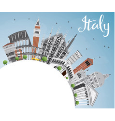 Italy skyline with landmarks and copy space vector