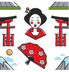 japanese symbols geisha and torii gate mountain vector image