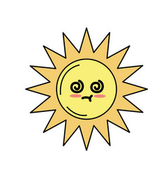 Kawaii cute sick sun emoji vector
