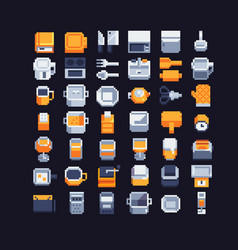 Kitchen utensils pixel art icons set vector