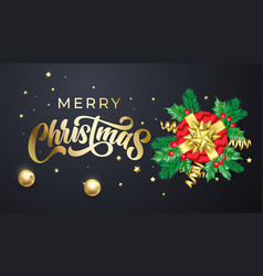 merry christmas golden calligraphy lettering xmas vector image