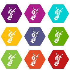 micro vibrio icons set 9 vector image