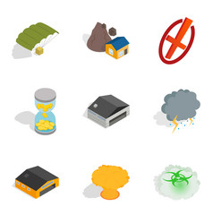 Militarist icons set isometric style vector
