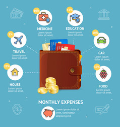 Monthly expenses concept with wallet vector