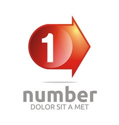 number 1 figure arrow right red icon vector image