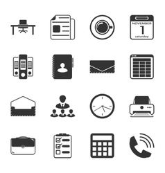 Office black and white flat icons set vector
