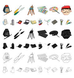 Painter and drawing cartoon icons in set vector
