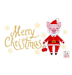 pig and text merry christmas vector image