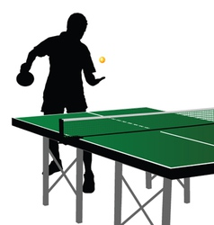 ping pong player silhouette nine vector image