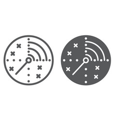 Radar line and glyph icon military and navy vector