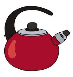 Red metal teapot vector