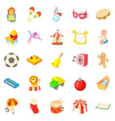 sandbox icons set cartoon style vector image