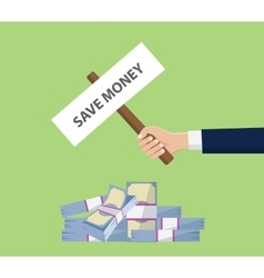 save money investment money stack cash with hand vector image