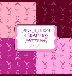 Seamless patterns with pink ribbon vector