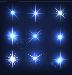 set forms of sparks shining star on a blue vector image