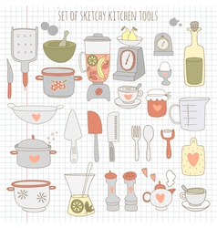 Set kitchen tools on notebook paper vector