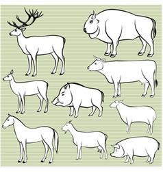 Set monochrome wild and domestic animals for de vector