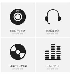 set of 4 editable mp3 icons includes symbols such vector image