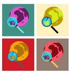 ship globe sign logo template design element vector image