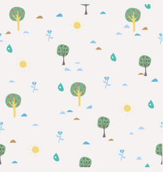 simple summer seamless pattern with trees sun vector image vector image