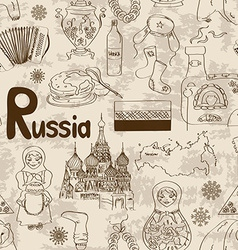 Sketch Russia seamless pattern vector image